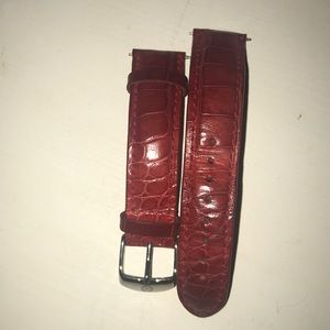 Red snake skin Michele watch straps. Size 18mm